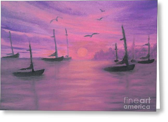 Greeting Card featuring the painting Sails At Dusk by Holly Martinson