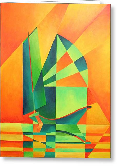 Greeting Card featuring the painting Sails At Sunrise by Tracey Harrington-Simpson