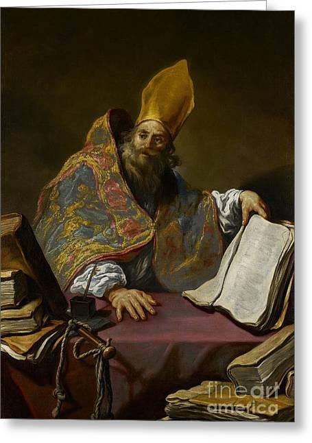Saint Ambrose Greeting Card by Claude Vignon