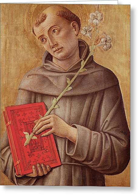 Saint Anthony Of Padua  Greeting Card by Bartolomeo Vivarini