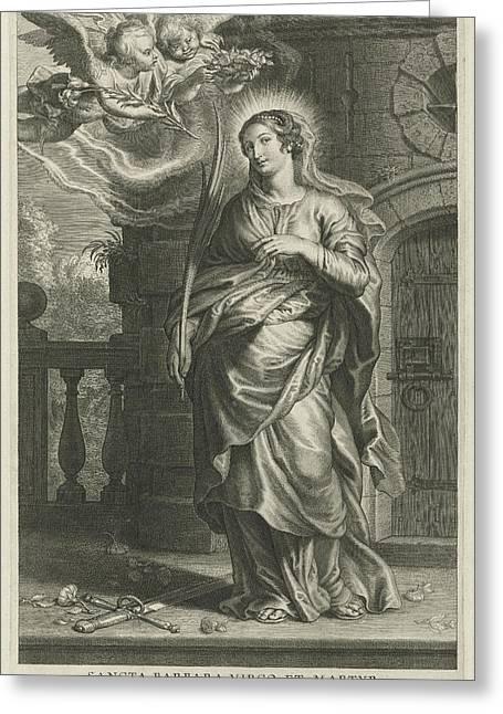 Saint Barbara As Martyr Greeting Card by Schelte Adamsz. Bolswert