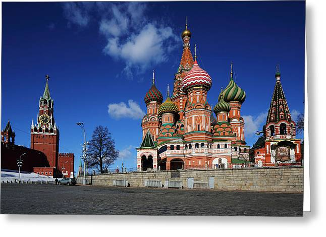 Saint Basils Cathedral On The Red Square Greeting Card