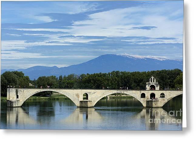 Saint Benezet Bridge Over The River Rhone. View On Mont Ventoux. Avignon. France Greeting Card by Bernard Jaubert