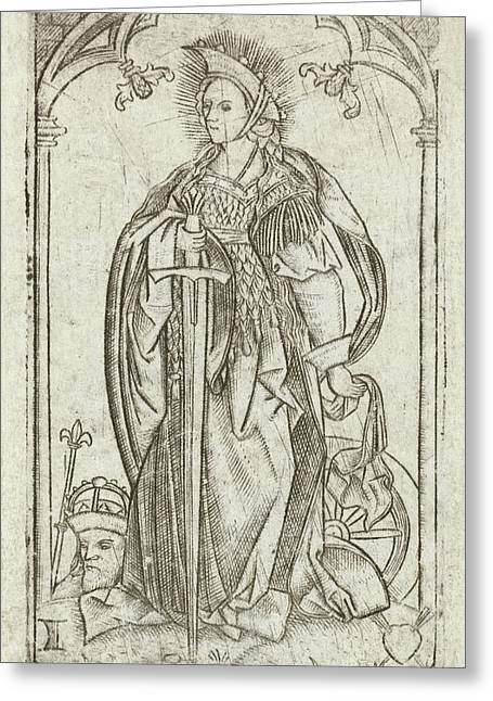 Saint Catherine, Meester Met Het Doorstoken Hart Greeting Card by Litz Collection