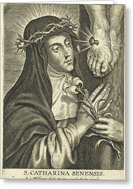 Saint Catherine Of Siena With Stigmata At Crucifix Greeting Card