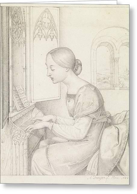 Saint Cecilia Joseph Anton Draeger, German Greeting Card by Litz Collection