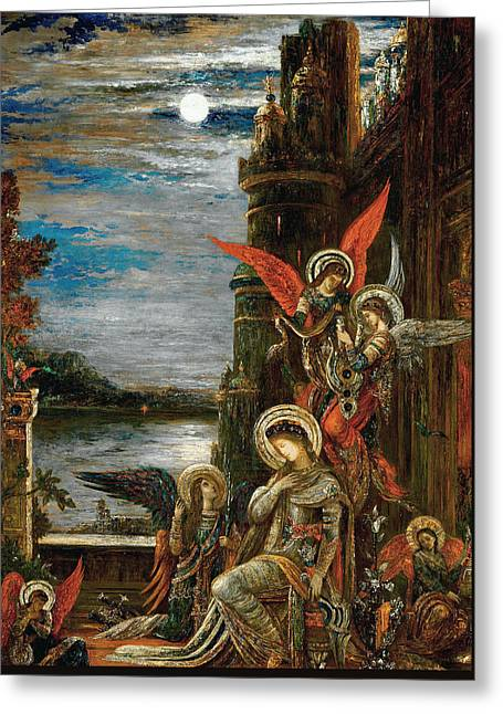 Saint Cecilia. The Angels Announcing Her Coming Martyrdom Greeting Card by Gustave Moreau