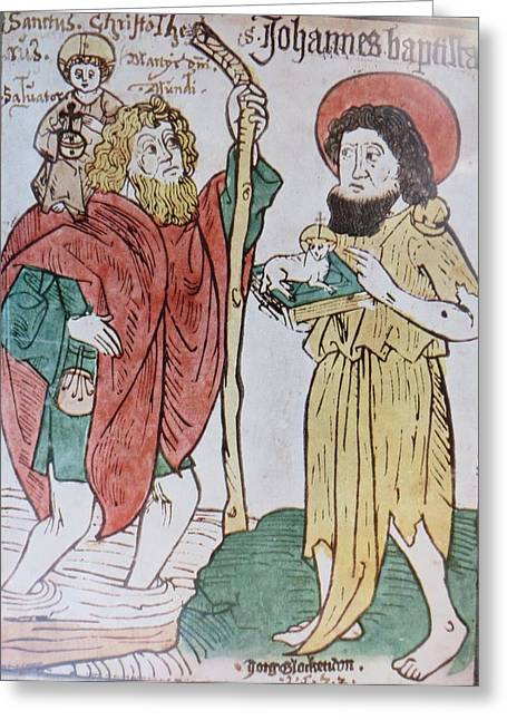 Saint Christopher And Saint John The Baptist Greeting Card by German School Artist
