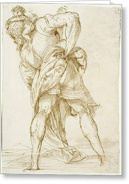 Saint Christopher Domenico Campagnola, Italian Greeting Card