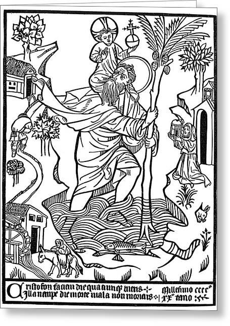 Saint Christopher Greeting Card by Granger