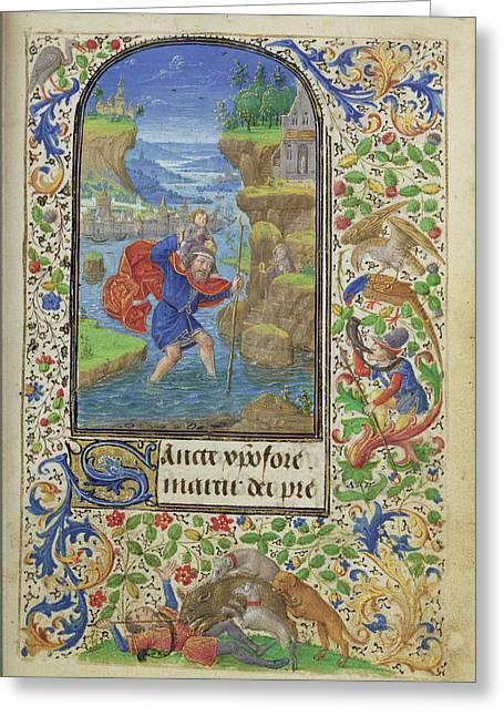 Saint Christopher Lieven Van Lathem, Flemish, About 1430 - Greeting Card
