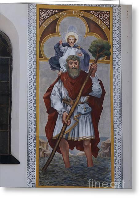 Saint Christopher Mural - Kranj - Slovenia Greeting Card by Phil Banks