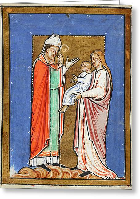Saint Cuthbert Healing A Child Greeting Card by British Library