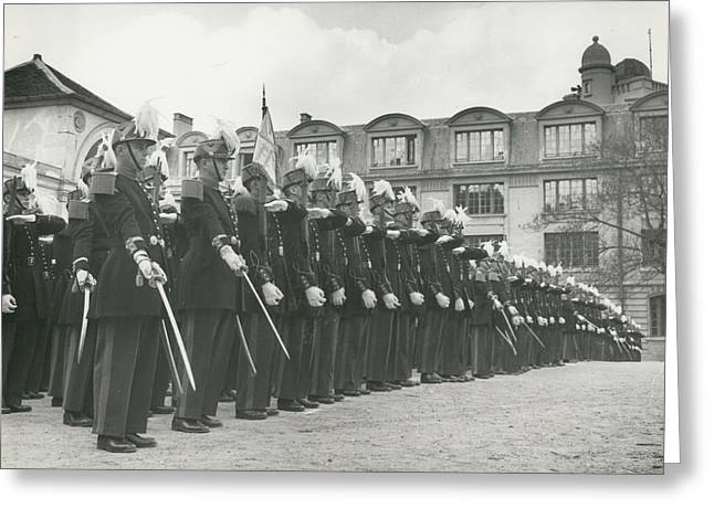 Saint Cyr Cadets At Ecole Polmtechnique Greeting Card by Retro Images Archive
