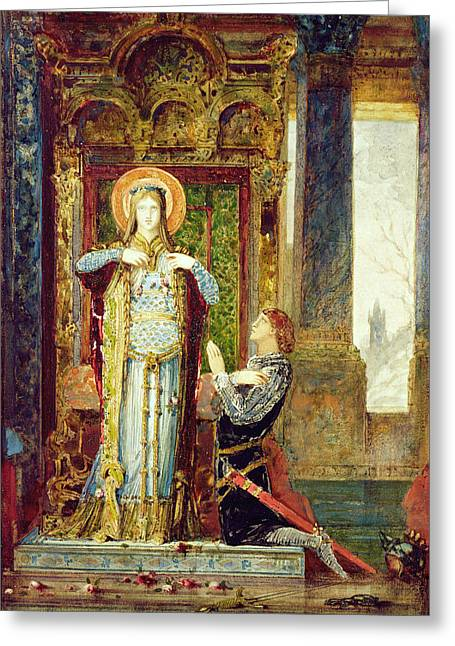 Saint Elisabeth Of Hungary. The Miracle Of The Roses Greeting Card by Gustave Moreau