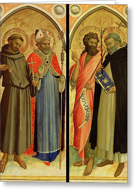 Saint Francis And A Bishop Saint, Saint John The Baptist Greeting Card