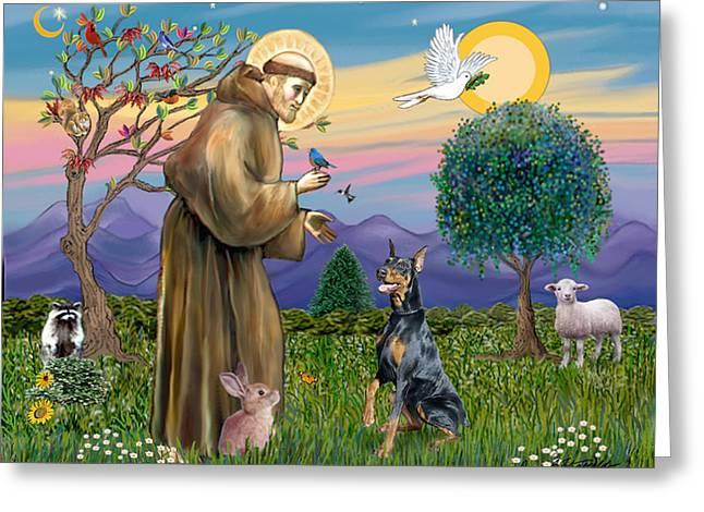 Saint Francis And Doberman Pinscher Greeting Card