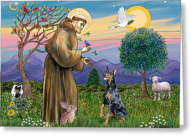 Saint Francis And Doberman Pinscher Greeting Card
