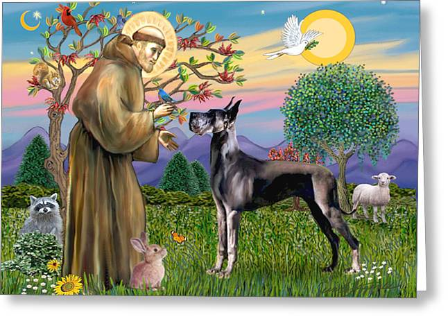Saint Francis Blesses A Black Great Dane Greeting Card