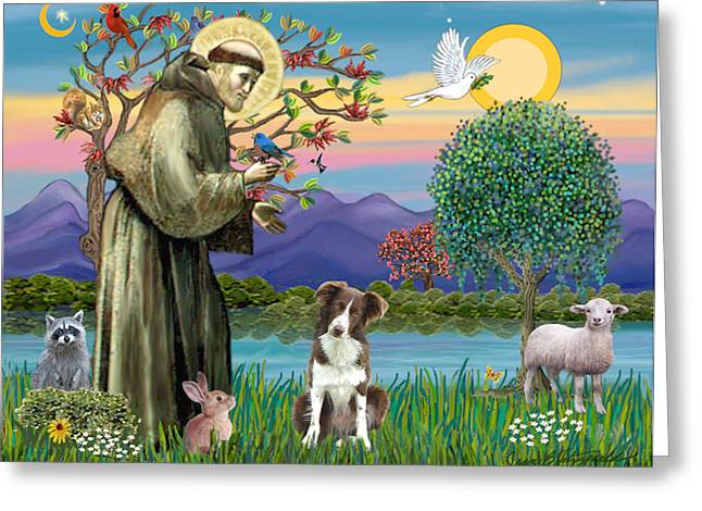 Saint Francis Blesses A Brown And White Border Collie Greeting Card