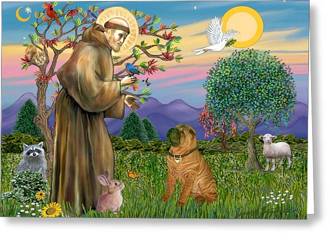 Saint Francis Blesses A Chinese Shar Pei Greeting Card