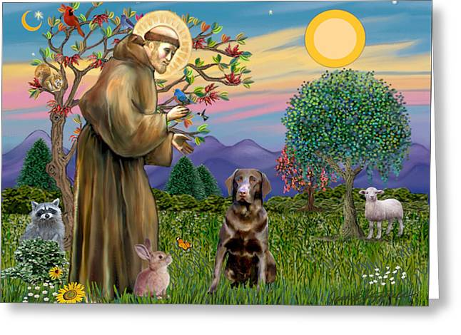Saint Francis Blesses A Chocolate Labrador Retriever Greeting Card