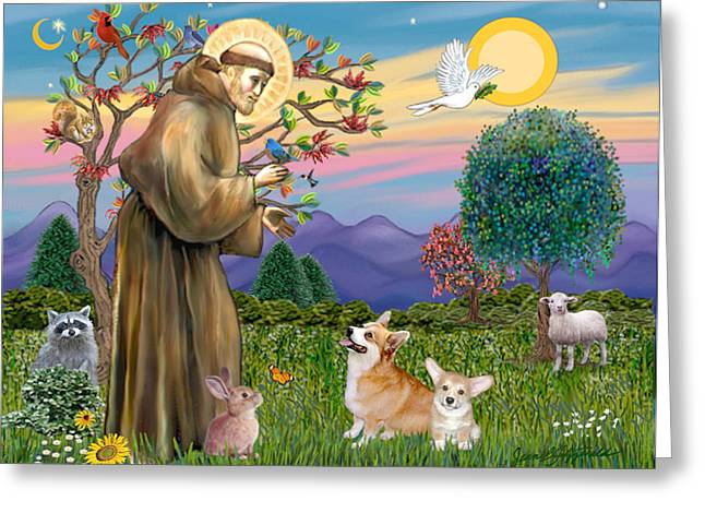 Saint Francis Blesses A Corgi And Her Pup Greeting Card