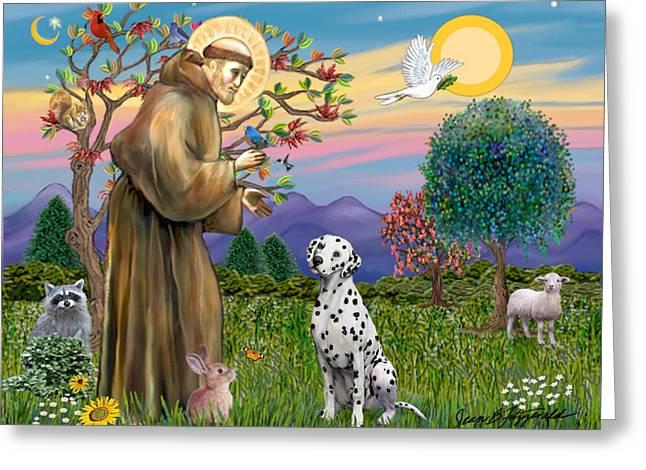 Saint Francis Blesses A Dalmatian Greeting Card