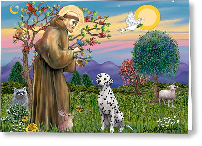 Saint Francis Blesses A Dalmatian Greeting Card