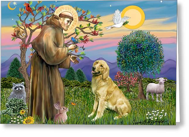 Saint Francis Blesses A Golden Retriever Greeting Card