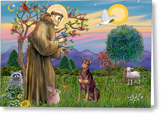 Saint Francis Blesses A Red Doberman Greeting Card