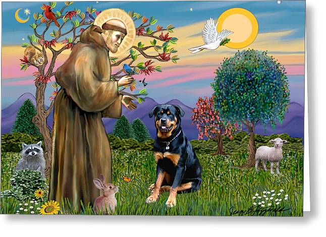Saint Francis Blesses A Rottweiler Greeting Card
