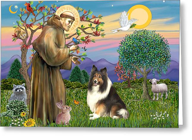 Saint Francis Blesses A Sable And White Collie Greeting Card
