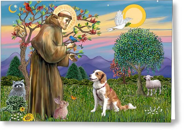 Saint Francis Blesses A Welsh Springer Spaniel Greeting Card