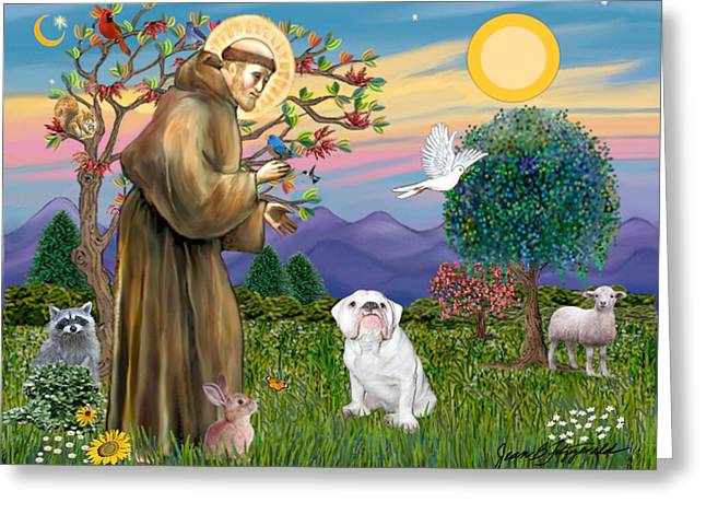 Saint Francis Blesses An English Bulldog Greeting Card