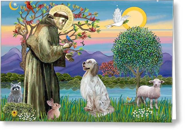Saint Francis Blesses An English Setter Greeting Card