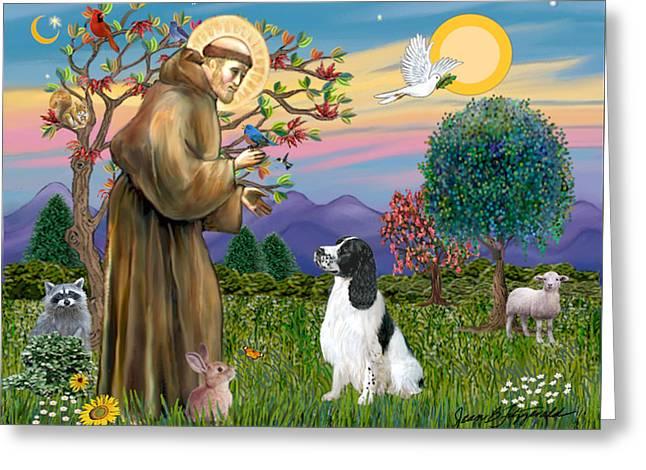 Saint Francis Blesses An English Springer Spaniel Greeting Card