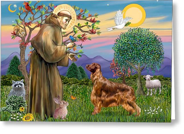 Saint Francis Blesses An Irish Setter Greeting Card