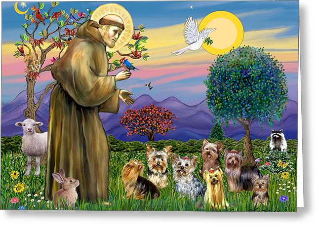 Saint Francis Blesses Seven Yorkies Greeting Card