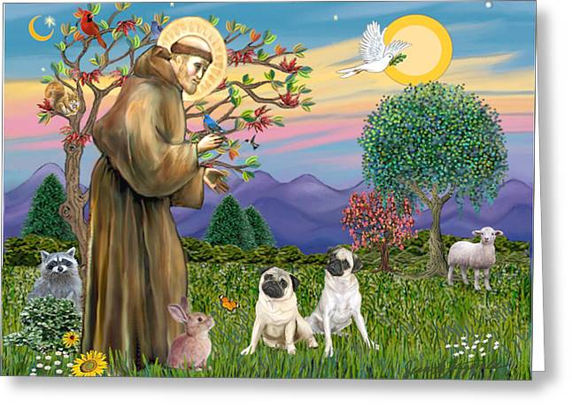 Saint Francis Blesses Two Fawn Pugs Greeting Card