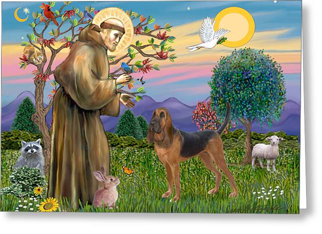 Saint Francis Blessing A Bloodhound Greeting Card