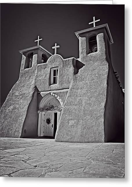 Saint Francis In Black And White Greeting Card by Charles Muhle