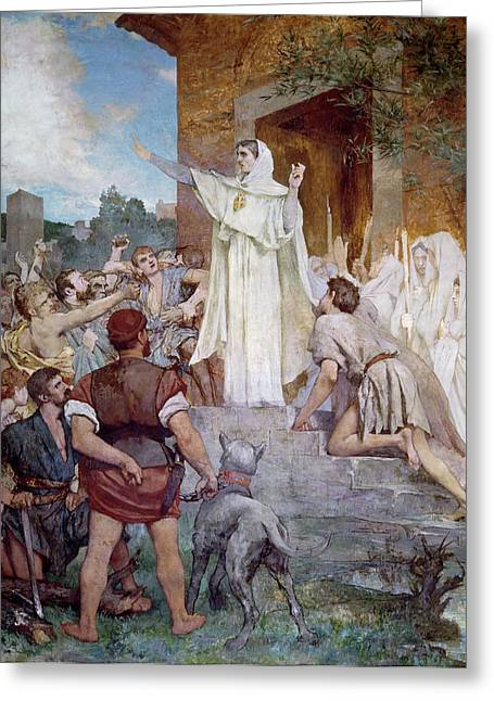 Saint Genevieve Calming The Parisians On The Approach Of Attila Greeting Card