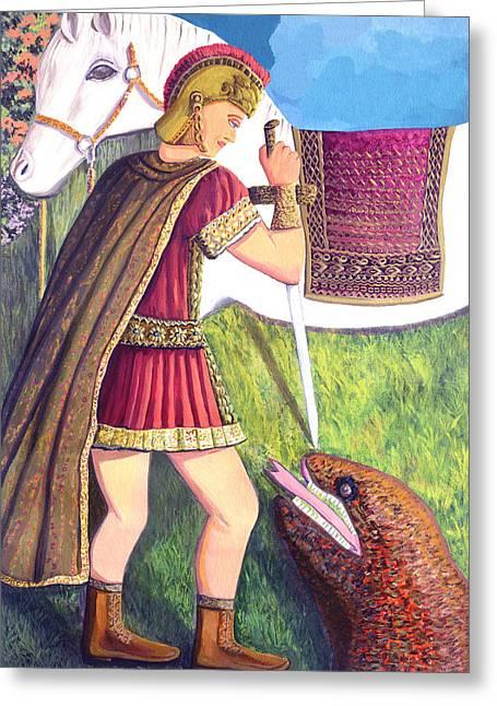 Saint George Greeting Card by Thecla Correya