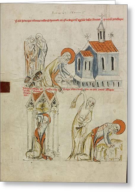 Saint Hedwig Leaving Bloody Footprints In The Snow Greeting Card