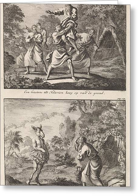 Saint Hilarion Is Lifted By A Possessed Man Greeting Card by Jan Luyken And Jacobus Van Hardenberg And Barent Visscher