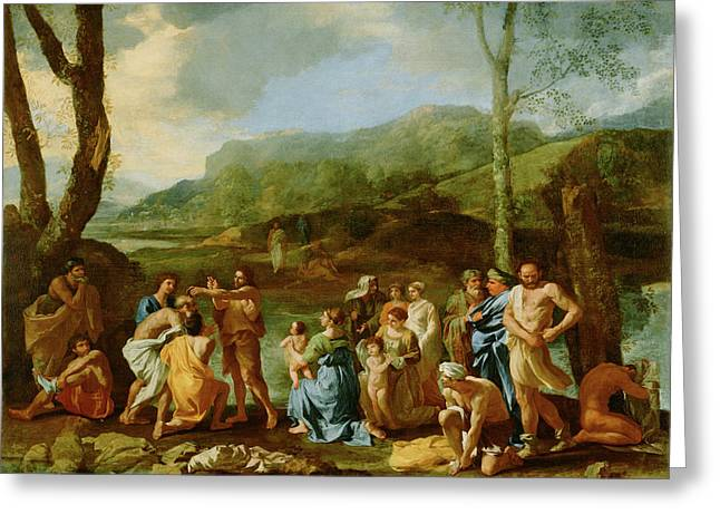 Saint John Baptizing In The River Jordan Nicolas Poussin Greeting Card