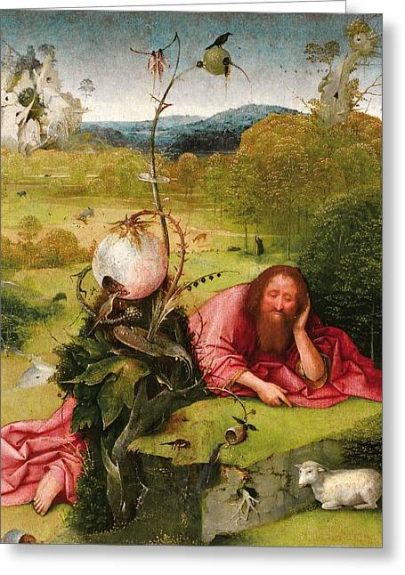 Saint John The Baptist In The Desert Greeting Card by Hieronymus Bosch