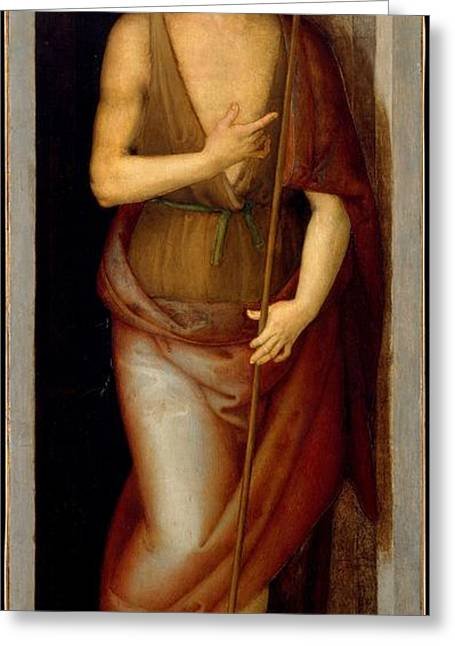 Saint John The Baptist Saint Lucy Greeting Card by Perugino