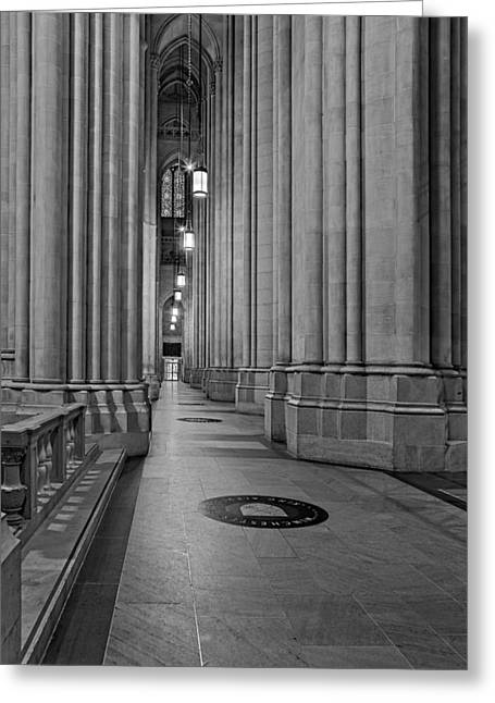 Saint John The Divine Cathedral Columns Bw Greeting Card by Susan Candelario